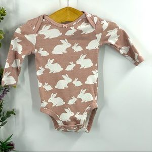 Carter's | Pink and white bunny bodysuit 0-3M
